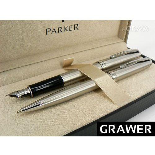 Zestaw Parker Sonnet stalowy CT pióro i długopis GRAWER