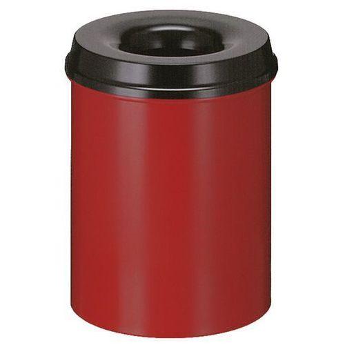 Vepa bins Kosz na papier, samogaszący, poj. 15 l, korpus czerwony / głowica gasząca czarna