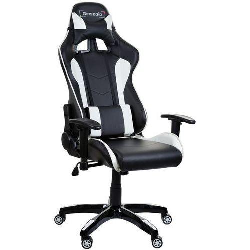 Fotel biurowy GIOSEDIO czarno-biały,model GSA042 (5902751541700)