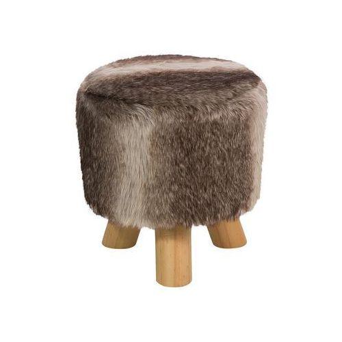 Pufa brązowo-beżowa - hoker - taboret - puf - podnóżek - TOPEKA (7081454561531)