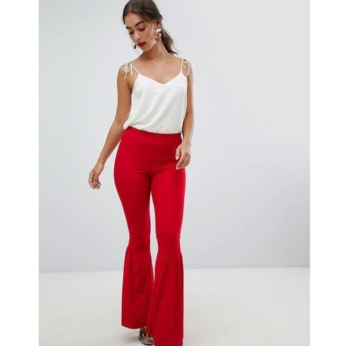 River Island Frill Flare Trousers - Red, kolor czerwony
