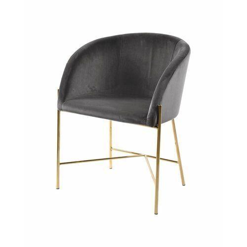 Actona Niezwykle designerski fotel nelson szary/złota podstawa
