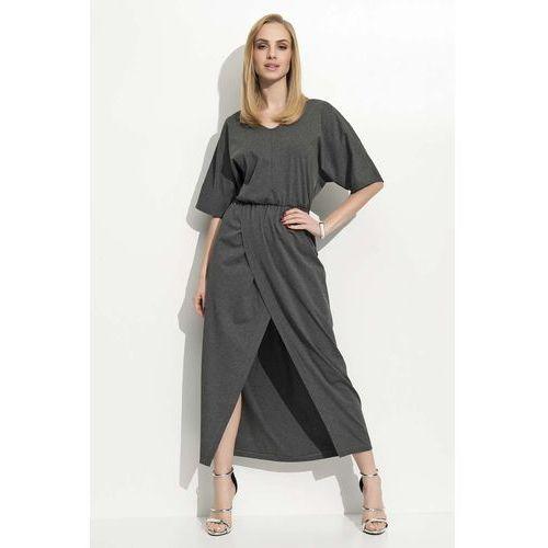 c257d08d18 Grafitowa maxi sukienka z zakładanym dołem marki Makadamia
