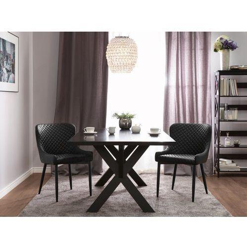 Krzesło do jadalni czarne skóra ekologiczna SOLANO (4260586357493)