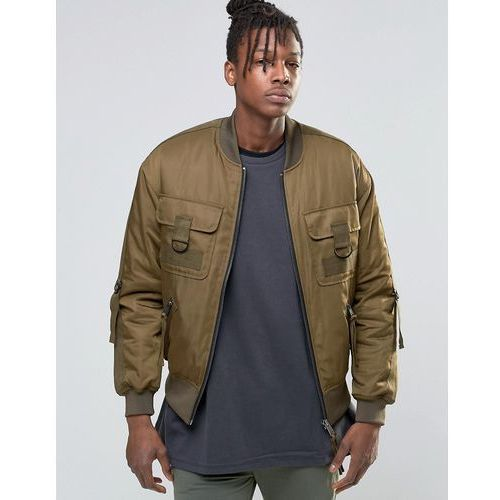ASOS Bomber Jacket with Multi Pockets and Straps in Khaki - Green