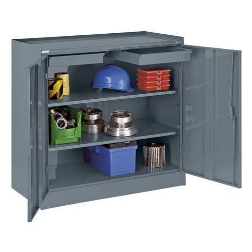 Szafa na narzędzia, z 2 szufladami, 2 półkami na całej szerokości, niebiesko-sza