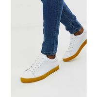 leather trainers with contrast yellow sole - white, Selected homme