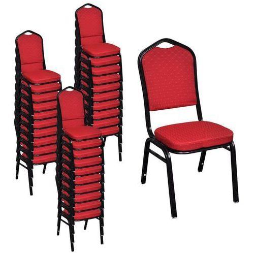 Krzesła do jadalni, 30 szt., sztaplowane, materiałowe, czerwone marki Vidaxl