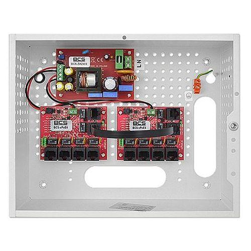 System zasilania dla 8 monitorów IP z switchem PoE BCS-SP0812, BCS-SP0812