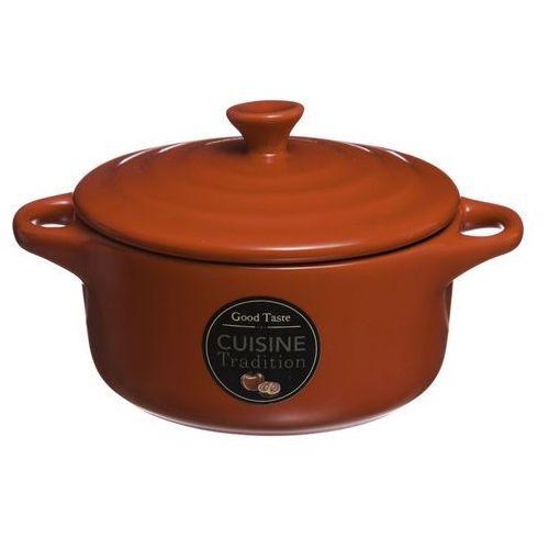 Secret de gourmet Garnek z pokrywką i 2 uchwytami, kolor czerwony, ozdoba grafika, nieduże rozmiary, 10 cm, podawanie potraw