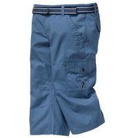 Bonprix Spodnie 3/4 z paskiem loose fit niebieski dżins