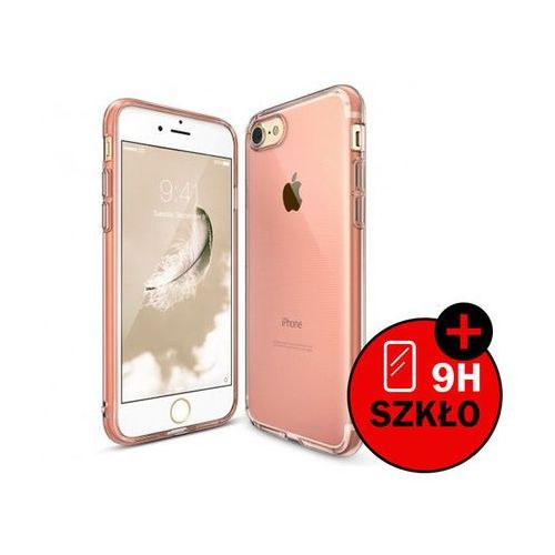 Etui Ringke Air Apple iPhone 7 Rose Gold + Szkło - Różowy