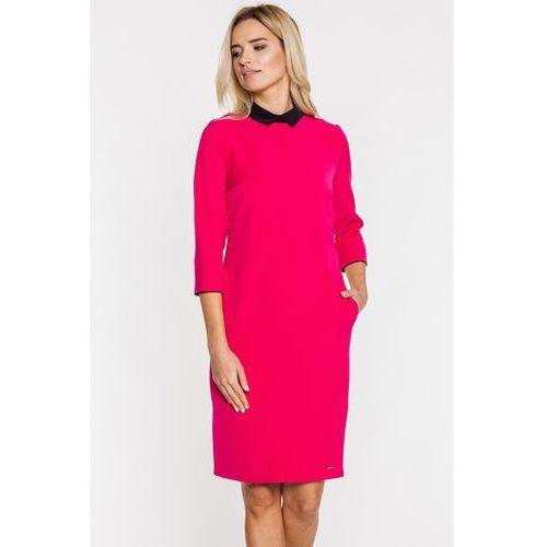 Różowa, wizytowa sukienka z krótkim kołnierzykiem - marki Emoi