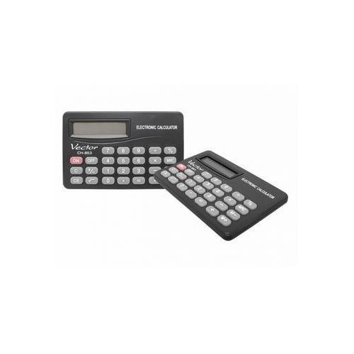 Kalkulator z wyświetlaczem 8 pozycjnym: zasilanie bateryjne, klawisz zmiany znaku +/-, klawisz włączania i wyłączania, trwała plastikowa obudowa. Wymiary: 53x83x4mm. (kalkulator)
