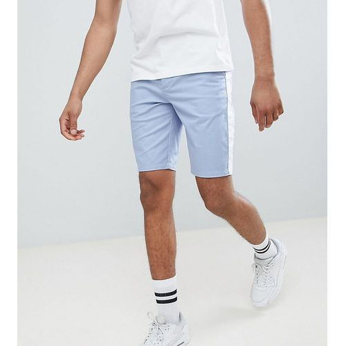 design tall skinny chino shorts in light blue with white side stripe - blue, Asos