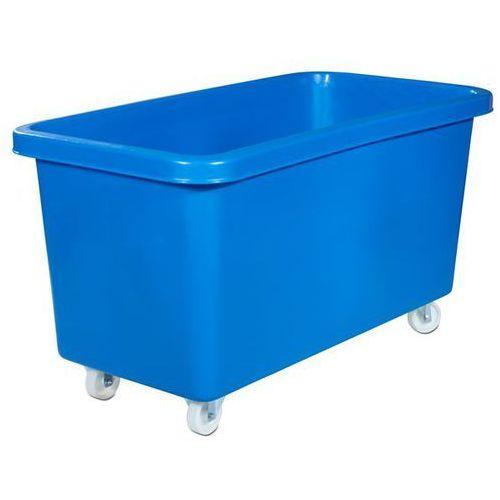 Prostokątny pojemnik z polietylenu, ruchomy, poj. 450 l, niebieski. z płytą drew marki Vectura behältermanagement