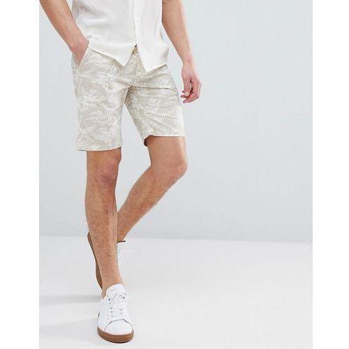 slim fit chino short with hawaiian print - beige, Bellfield