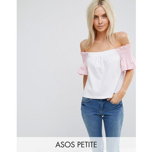 Asos petite  t-shirt with off shoulder in stripe & shirring ruffle sleeve - multi
