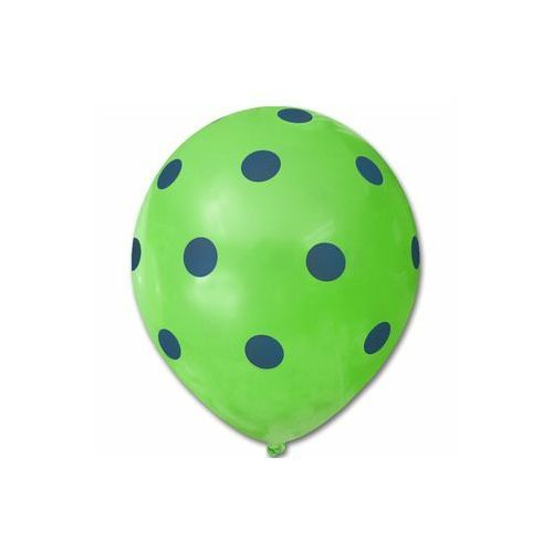 Dp Balony pastelowe zielone w niebieskie grochy - 30 cm - 5 szt. (5907509901195)