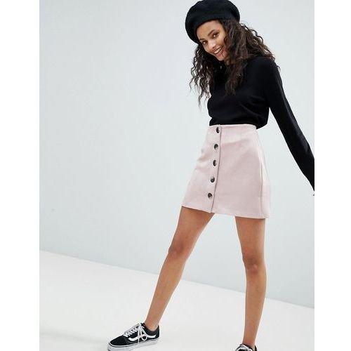 Bershka button front suedette mini skirt - pink