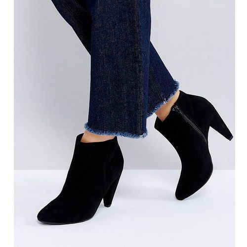 wide fit suedette cone heeled ankle boot - black, New look