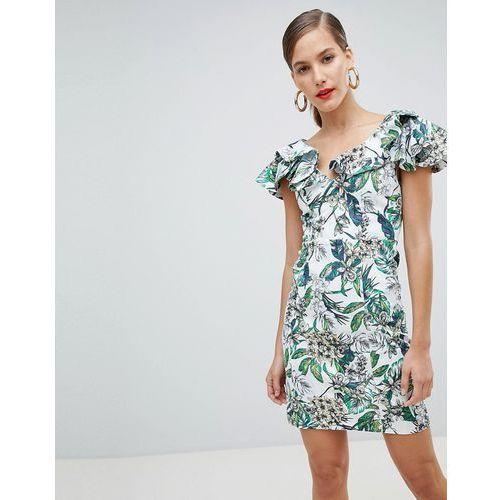 River Island ruffle shoulder floral bodycon mini dress - Cream
