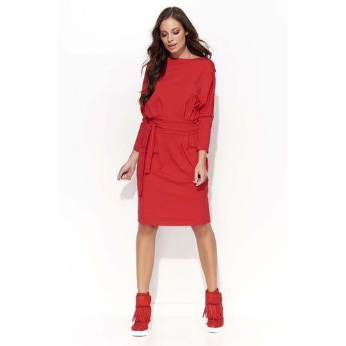 Czerwona Sukienka Odcinana w Pasie z Wiązaniem, DF26re
