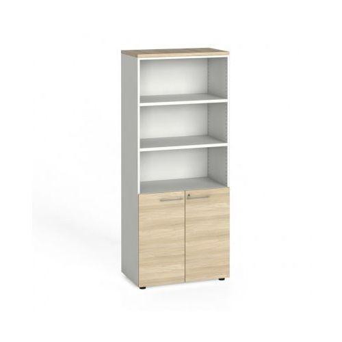 B2b partner Szafa biurowa, drzwi na 2 półki, 1781x800x420 mm, biały / dąb naturalny