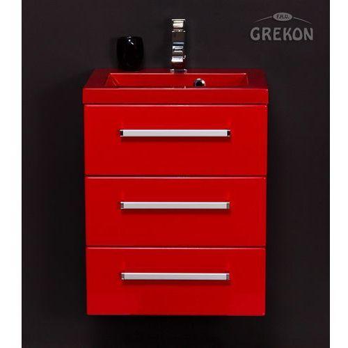 Gante Czerwona szafka wisząca z umywalką 50/39/3cz seria fokus cz