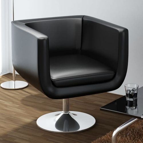 Vidaxl fotel barowy ze skóry syntetycznej, czarny