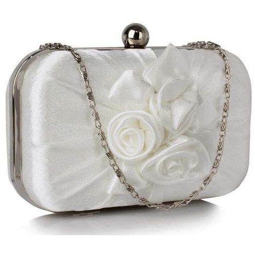 Biała ślubna torebka wizytowa z kwiatową aplikacją - biały marki Wielka brytania