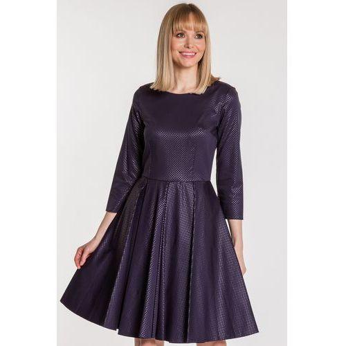 Granatowa sukienka z kontrafałdami - Jelonek, 1 rozmiar
