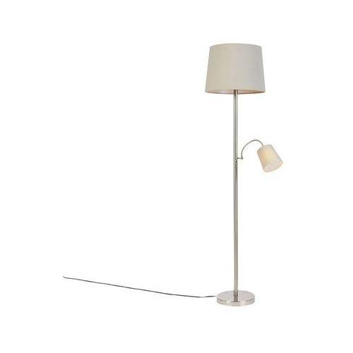 Klasyczna lampa podłogowa stal z szarym kloszem z elastycznym ramieniem - retro marki Qazqa