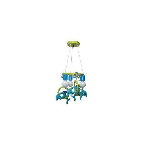 Prezent Lampa wisząca delfin 3xe27/60w/230v jasny niebieski/ zielony