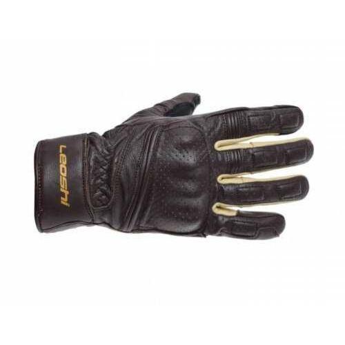 Rękawice motocyklowe brązowe skórzane siatka wzmocnione długie classic- nowy model! marki Leoshi