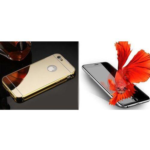 Mirror bumper / perfect glass Zestaw   mirror bumper metal case złoty   obudowa + szkło ochronne perfect glass   dla modelu apple iphone 7