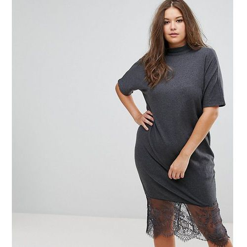 ASOS CURVE Lace Hem Midi Dress with Tie Neck - Grey, 1 rozmiar