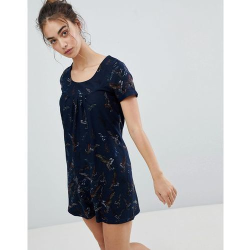 butterfly printed tunic dress - navy marki Qed london