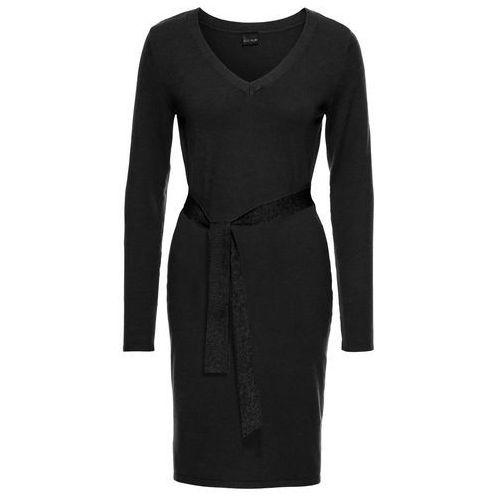 Bonprix Sukienka dzianinowa z przewiązaniem  czarny
