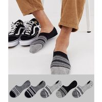 invisible liners socks with monochrome stripe design 5 pack - multi marki Asos design