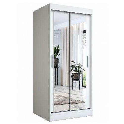 Biała szafa przesuwna z lustrem - Edna 2X