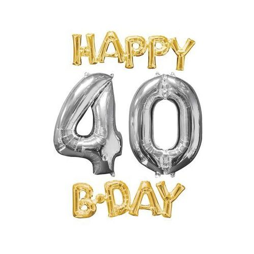 Amscan Zestaw balonów foliowych na 40 urodziny - 4 szt. (0026635360654)