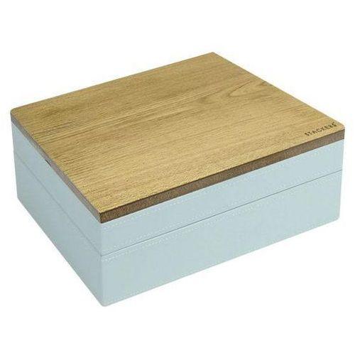 Pudełko na biżuterię podwójne classic wood błękitno-szare w grochy (5013648033816)