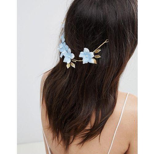 Asos design bridal something blue floral back hair crown - gold