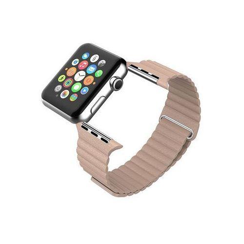 "Beżowy Skórzany Pasek ""LOOP"" - Zapięcie magnes do Apple Watch 38mm - Beżowy, kolor beżowy"