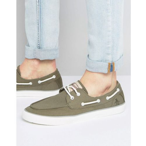 Original Penguin Canvas Boat Shoes - Green