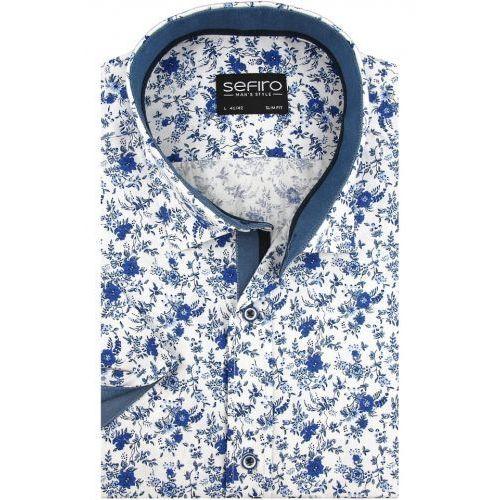 Koszula Męska Sefiro biała w niebieskie kwiaty SLIM FIT na krótki rękaw K911, kolor niebieski