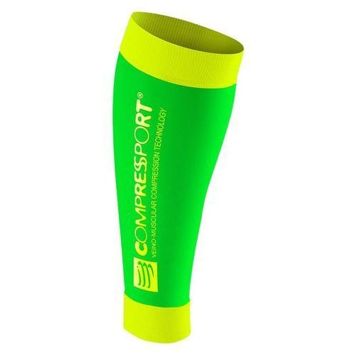 Compressport r2 fluo race&recovery - opaski kompresyjne na łydki (zielono-żółte)
