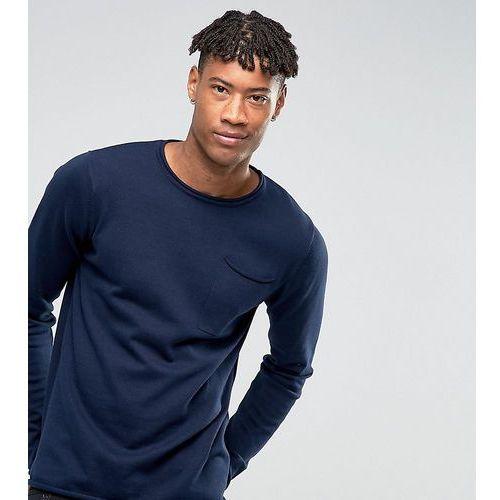 D-struct tall knitwear fine gauge crew neck knit with pocket - navy