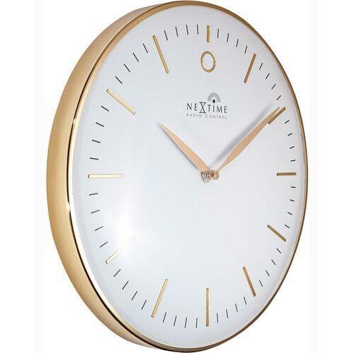 Nextime Zegar ścienny sterowany radiowo, złoty glamour 30 cm, biały cyferblat (3256 wirc)